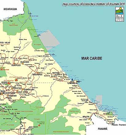 costa rica map caribbean